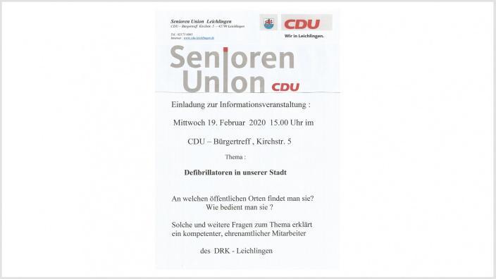 Einladung zur Informationsveranstaltung der Seniorenunion Leichlingen